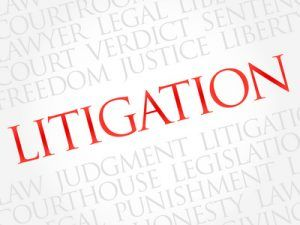 Litigation word cloud concept