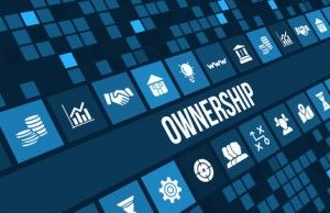 Ownership concept image with business icons and copyspace