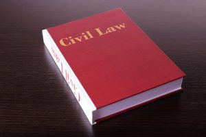 Civil Law book on wooden table