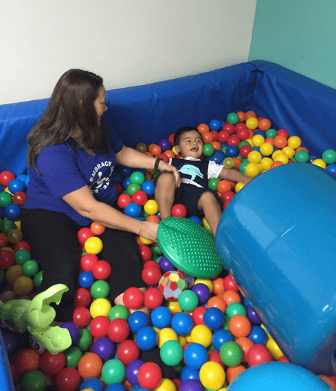 Liam in ball pit