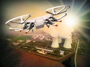 Drone controled from terrorist attacking to nuclear power plant. Digital artwork fictional vehicles on UAV theme.