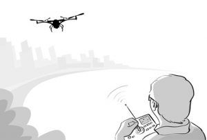 Man Silhouette Control Drone Flying Air Quadrocopter Park Sketch