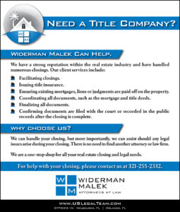 Widerman Malek Real Estate Title and Closing Information
